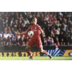 Jordan Henderson signed 12x8 Liverpool colour photo image B