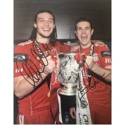 Jordan Henderson and Andy Carroll double  signed 10x8 Liverpool colour photo