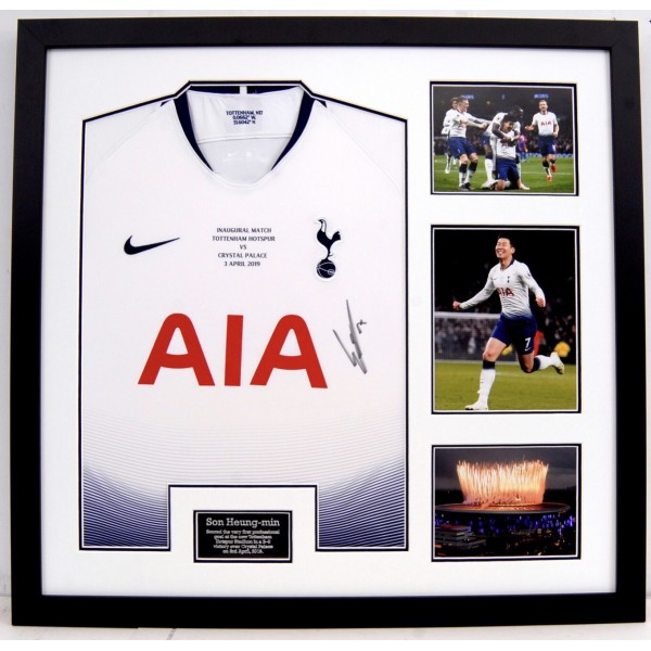 Tottenham framed inaugural game shirt signed by Heung Min Son  2018/19