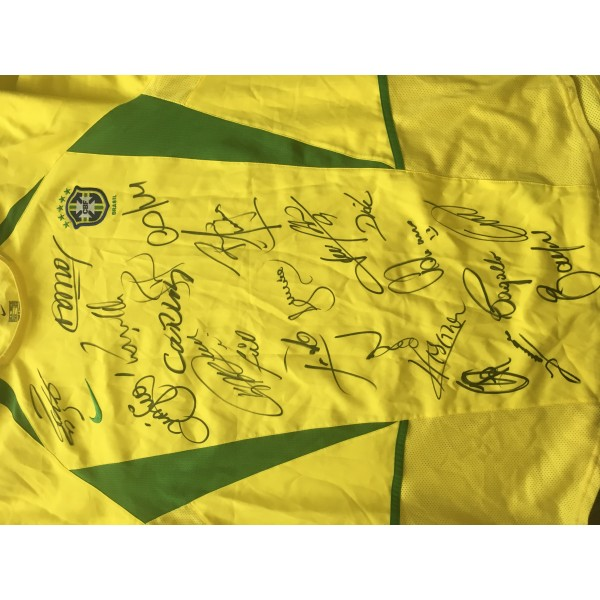 Brazil multi signed shirt signed by 21 including Ronaldo , Kaka & Roberto Carlos