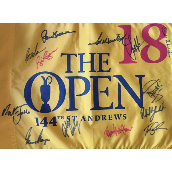 2015 Open Golf Championship flag multi signed by 13 Open Champions St Andrews