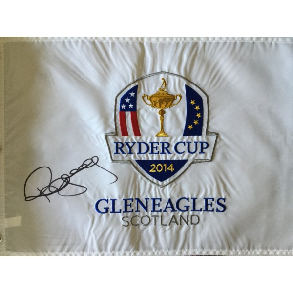 Paul McGinley signed Ryder Cup 2014 Gleneagles signed flag