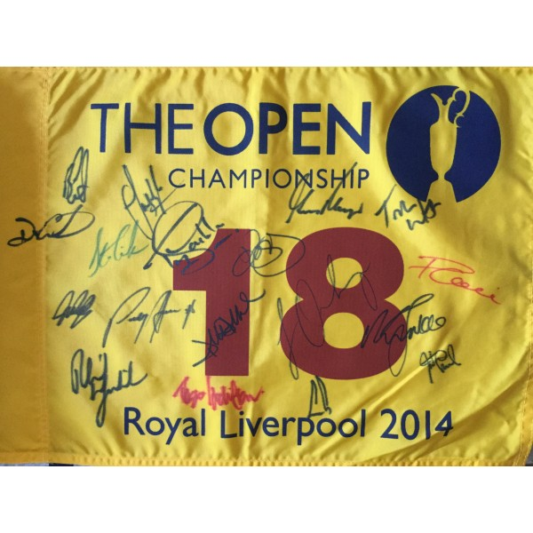2014 Open Golf flag multi signed by 16 Open Champions