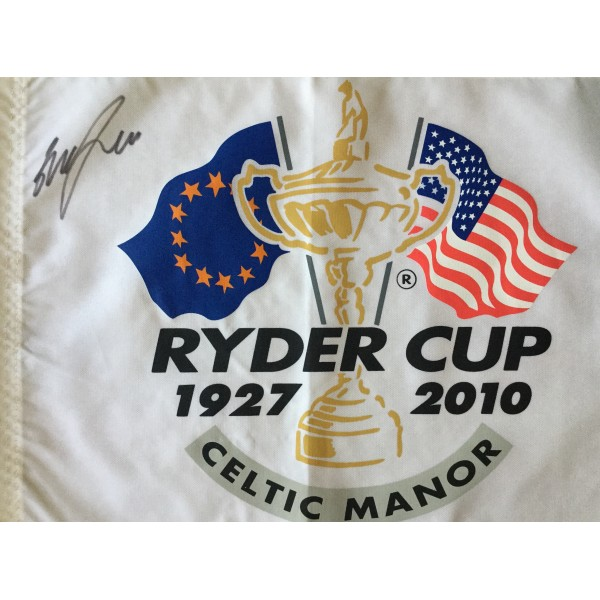 Graeme McDowell  signed Ryder Cup 2010 Celtic Manor signed flag
