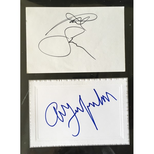 Paul Simon & Art Garfunkel signatures on 2 white cards