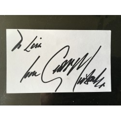 George Michael signature on white card signed to Lisa