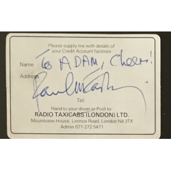 Paul McCartney (The Beatles) signed full signature dedicated to Adam