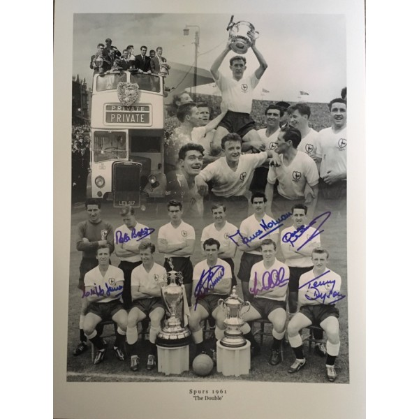 Tottenham 1961 double winners Montage photo signed by 7 of the main 11 black and white photo blue pen
