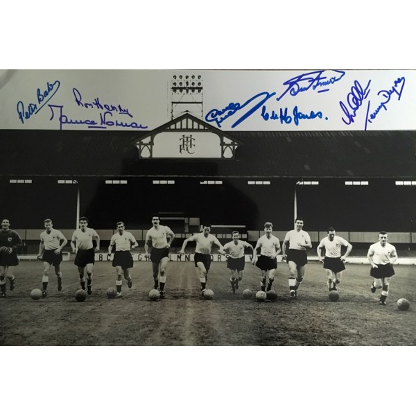 Tottenham 1961 double winners 18x12 photo signed by 8 of the main 11