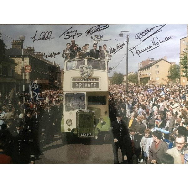 Tottenham 1961 double winners bus  16x12 photo signed by 7 of the main 11 Colour photo black pen