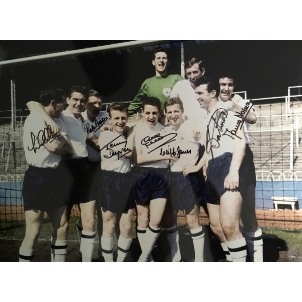 Tottenham 1961 double winners photo signed by 7 of the main 11 Colour photo black pen