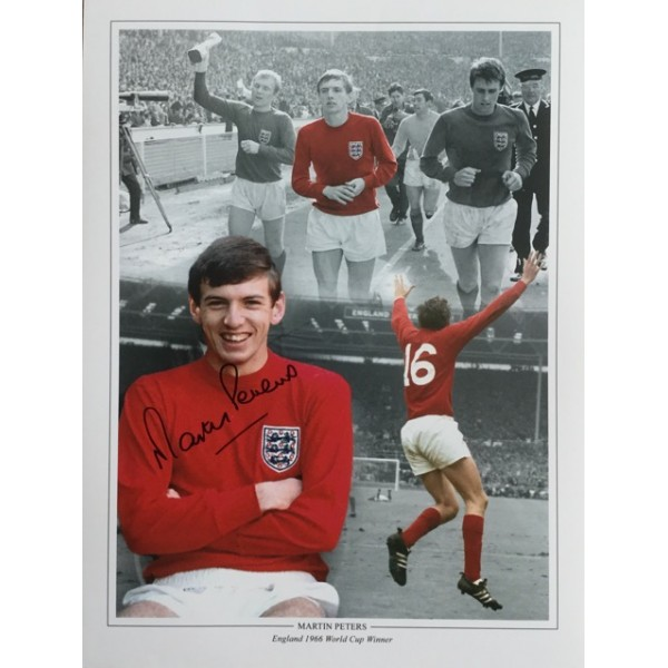 Martin Peters signed 16x12 England 1966 montage photo