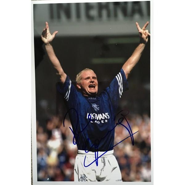 Paul Gascoigne signed Rangers 12x8 photo