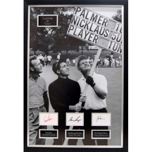 Legends of golf framed presentation signed by Arnold Palmer , Gary Player and Jack Nicklaus