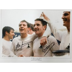 Alan Mullery and Dave Mackay signed 16x12 colour photo