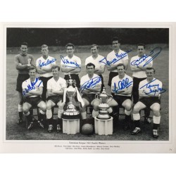 Tottenham 1961 double winners photo signed by 8 of the main 11