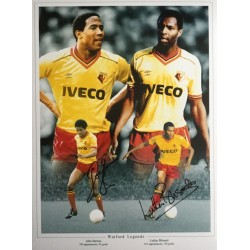 Luther Blissett and John Barnes signed 16x12 Watford montage photo (portrait)