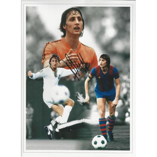 Johan Cruyff signed 16x12 large career memories photo
