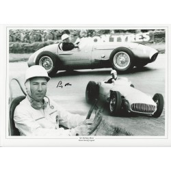Stirling Moss signed 16x12 black and white montage photo