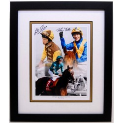 Triple signed Horse racing legends piece , Derby winning jockeys