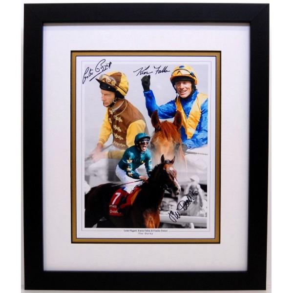 Triple signed Horse racing legends piece , Derby winning jockeys