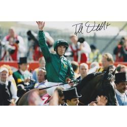 Frankie Dettori signed 12x8 Derby win colour photo
