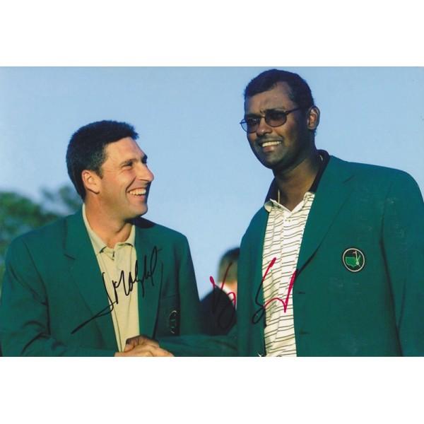 Jose Maria Olazabal & Vijay Singh signed 12x8 photo