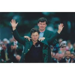Nick Faldo and Ian Woosnam signed 12x8 photo