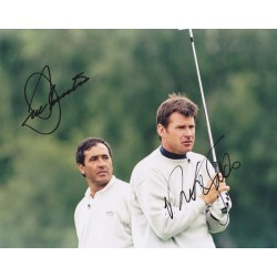 Seve Ballesteros & Nick Faldo signed 10x8 photo