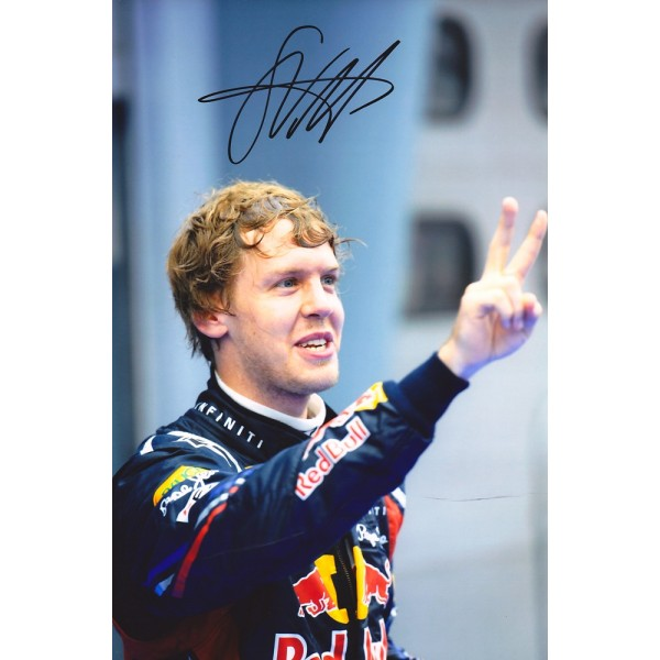 Sebastian Vettel signed 12x8 colour photograph